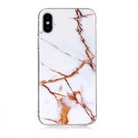 Casecentive - iPhone X / XS - Coque Rigide Ultra Fine - Marbre Blanc Or