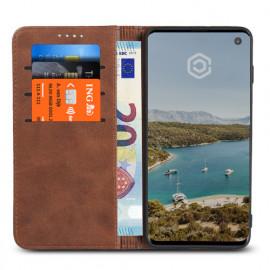 Casecentive Coque Portefeuille Cuir Samsung Galaxy S10 Brune