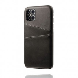Casecentive - Coque cuir iPhone 12 Pro Max - Porte carte - Noir