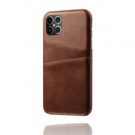 Casecentive - Coque cuir iPhone 12 Pro Max - Porte carte - Marron