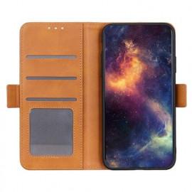 Casecentive - Étui portefeuille iPhone 12 / iPhone 12 Pro magnétique - Marron clair