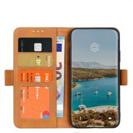 Casecentive - Étui portefeuille iPhone 12 Mini magnétique - Marron clair