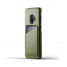 MUJJO Coque Portefeuille en cuir Samsung Galaxy S9 Vert Olive