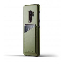 Coque Portefeuille en Cuir Mujjo Galaxy S9 Plus Olive