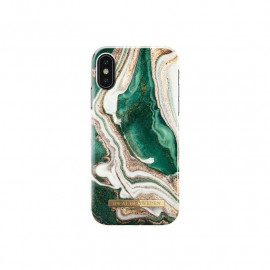Coque iDeal of Sweden iPhone X / XS en marbre doré vert