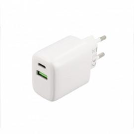 Musthavz - Chargeur rapide 20 Watt avec connexion USB-A et USB-C blanc