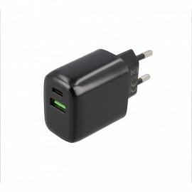 Musthavz - Chargeur rapide 20 Watt avec connexion USB-A et USB-C noir