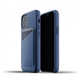 Mujjo - Coque cuir iPhone 12 portefeuille - Bleu