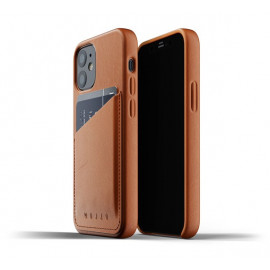 Mujjo - Coque cuir iPhone 12 portefeuille - Marron