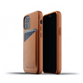 Mujjo - Coque cuir iPhone 12 Mini portefeuille - Marron