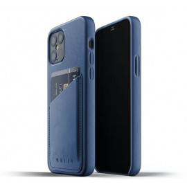 Mujjo - Coque portefeuille iPhone 12 / iPhone 12 Pro - Bleu