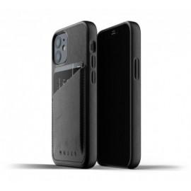 Mujjo - Coque cuir iPhone 12 portefeuille - Noir