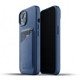 Mujjo - Coque cuir iPhone 13 portefeuille - Bleu
