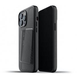 Mujjo - Coque cuir iPhone 13 Pro Max portefeuille - Noir
