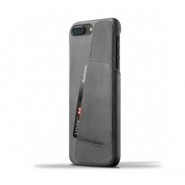 Mujjo - Coque portefeuille en cuir iPhone 7 Plus - Gris