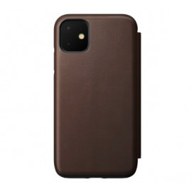 Nomad Rugged Folio Étui portefeuille en cuir iPhone 11 Marron