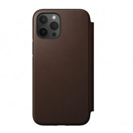 Nomad Rugged Folio Leather Case iPhone 12 / 12 Pro bruin