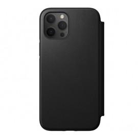 Nomad Rugged Folio Leather Case iPhone 12 / 12 Pro zwart
