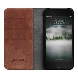 Nomad - Coque portefeuille iPhone 7 / 8 / SE 2020 en cuir - Marron